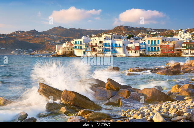 Mykonos Old Town, Little Venice in the background, Mykonos Island, Greece - Stock Image