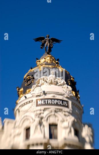 Metropolis Building, Gran Via, Madrid,  Spain - Stock Image