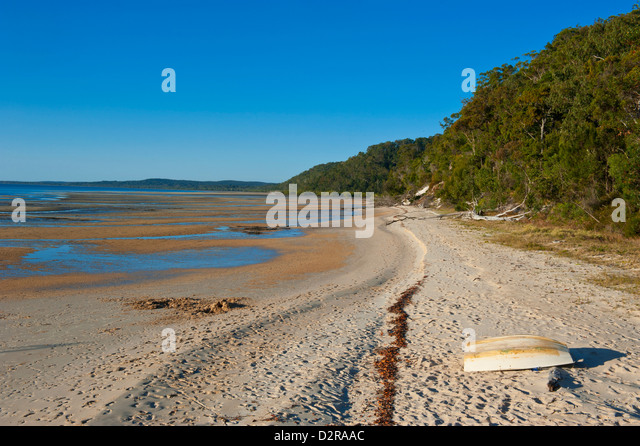 Lonely beach on Fraser Island, UNESCO World Heritage Site, Queensland, Australia, Pacific - Stock Image