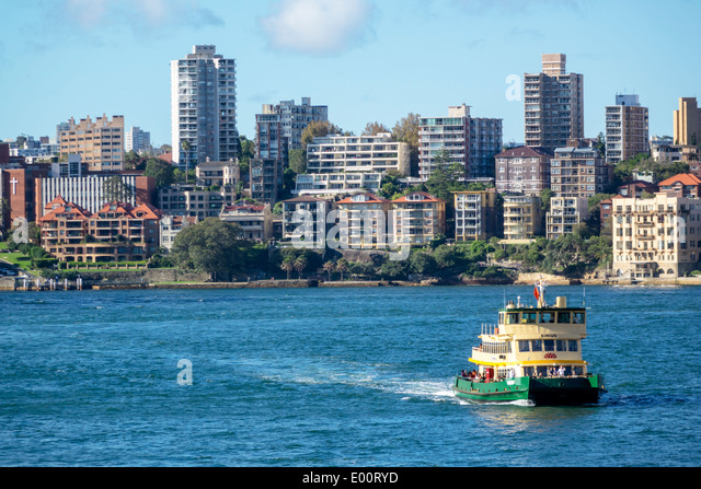 Australia NSW New South Wales Sydney Sydney Harbour harbor water Parramatta River Kirribilli neighborhood Lower - Stock Image
