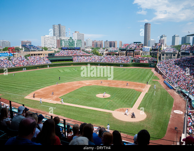 A view of Wrigley Field from the upper deck during a Chicago Cubs major league baseball game. Chicago. - Stock Image