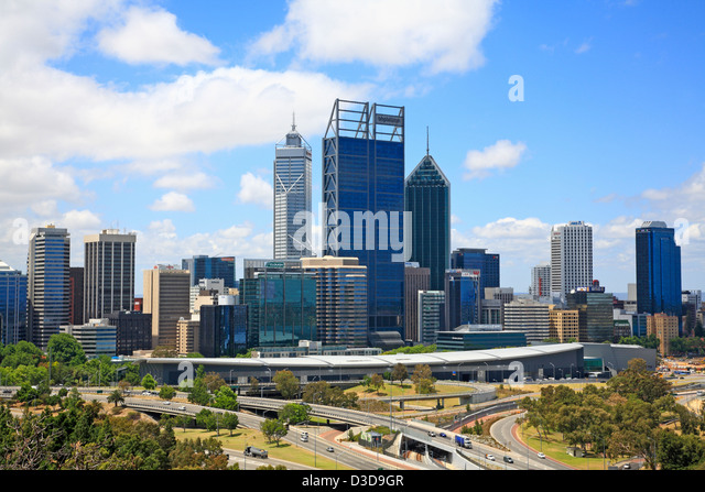 View of Perth City and Skyscrapers Western Australia - Stock Image