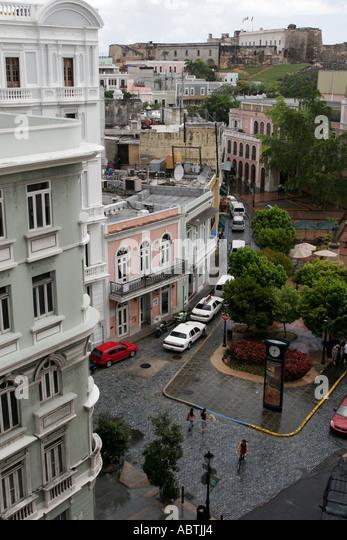 Puerto Rico Old San Juan Calle Tetuan Plaza Colon architecture - Stock Image