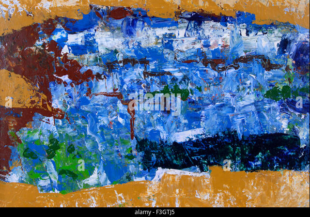 Impression of jodhpur city acrylic colors on handmade paper - Stock Image