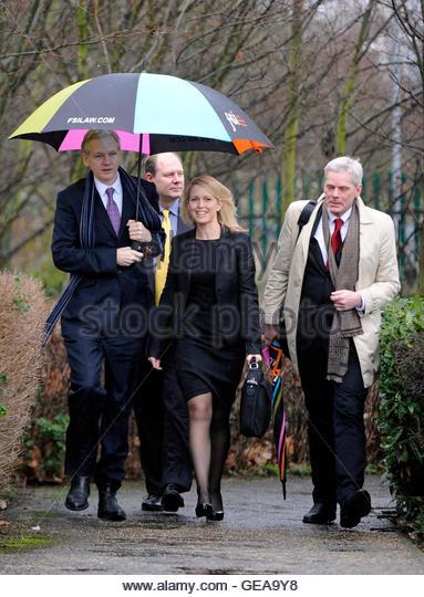 WikiLeaks founder Julian Assange (L) arrives with his lawyer Jennifer Robinson (C) and spokesman Kristinn Hrafnsson - Stock Image