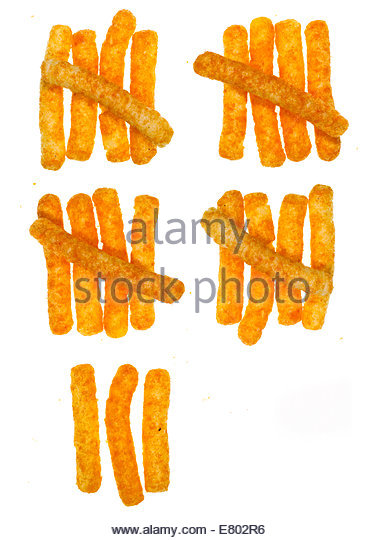 Counting days with Cheese puff snacks on white background - Stock Image
