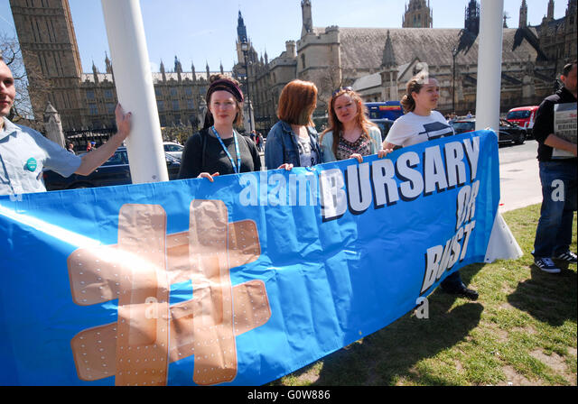 Wednesday 4th of may , students nurses rally before Parliament for the debate on bursaries called by shadow health - Stock Image