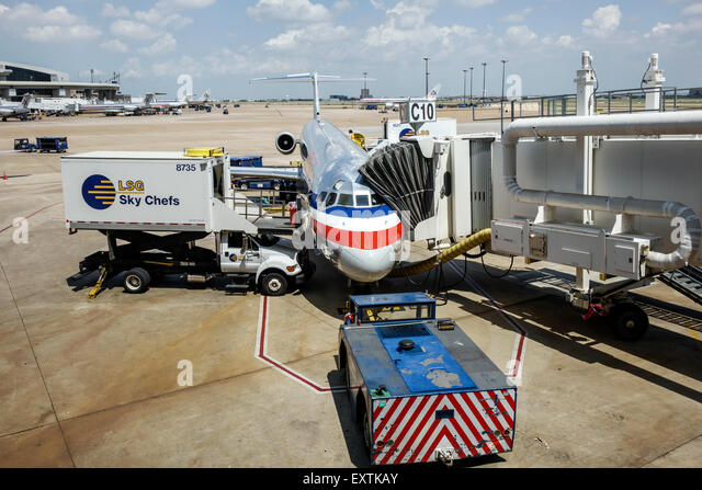 Dallas Texas Dallas Ft. Fort Worth International Airport DFW American Airlines terminal jet aircraft American Airlines - Stock Image