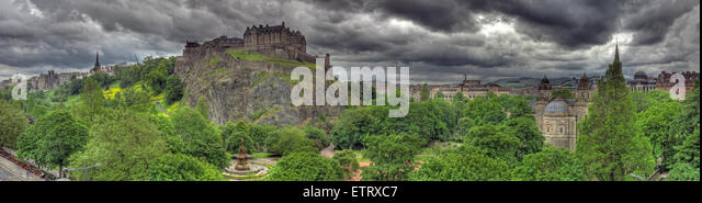 Panorama of Edinburgh Castle, on The Mound, Scotland, UK - Stock Image