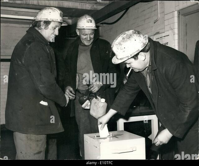 Feb. 02, 1974 - Miners Vote In Strike Ballot: Miners at the Snowdown Colliery in Kent Yesterday cast their view - Stock Image