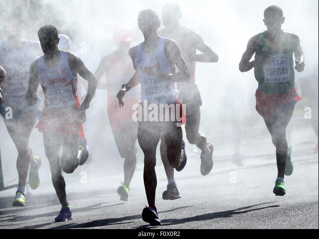 Beijing, China. 22nd Aug, 2015. Athletes compete in the men's marathon at the 15th IAAF World Championships - Stock-Bilder