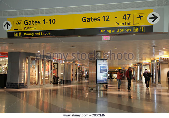 New York New York City NYC Brooklyn John F. Kennedy International Airport JFK aviation terminal concourse shops - Stock Image
