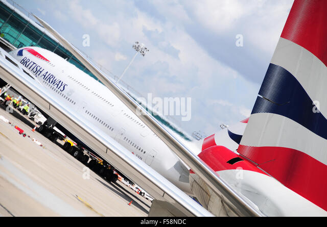 British Airways A380 At Stansted Airport UK - Stock Image