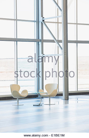 Chairs in modern lobby - Stock Image