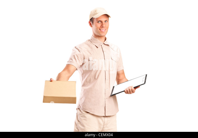 A delivery boy delivering a packet and holding a clipboard isolated on white background - Stock Image