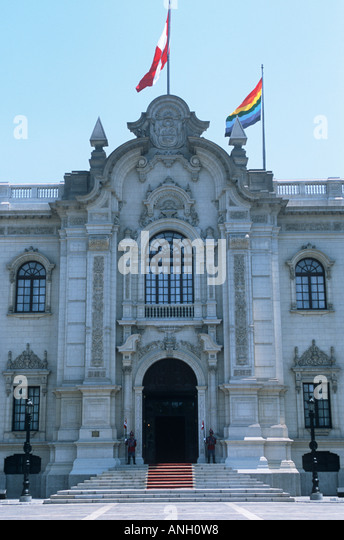 The presidential palace in the Plaza Mayor in Lima, Peru's capital - Stock Image