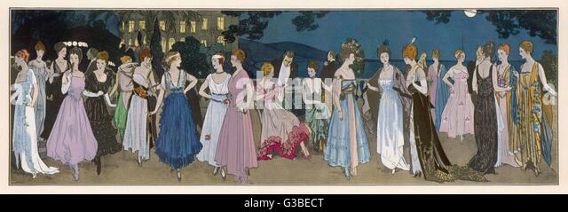 Fashion panarama showing the  variety of styles available  during 1915. Amongst the full- skirted creations are - Stock-Bilder