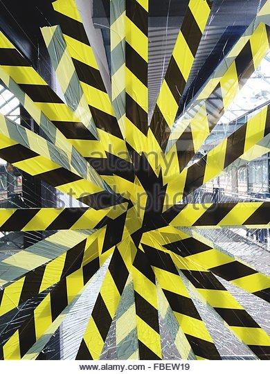 Full Frame Shot Of Cordon Tape On Broken Glass - Stock-Bilder