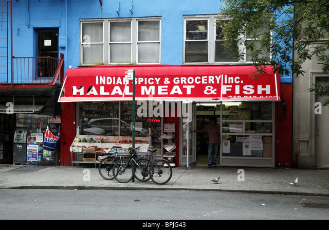 Halal meat stock photos halal meat stock images alamy for Fishing store nyc