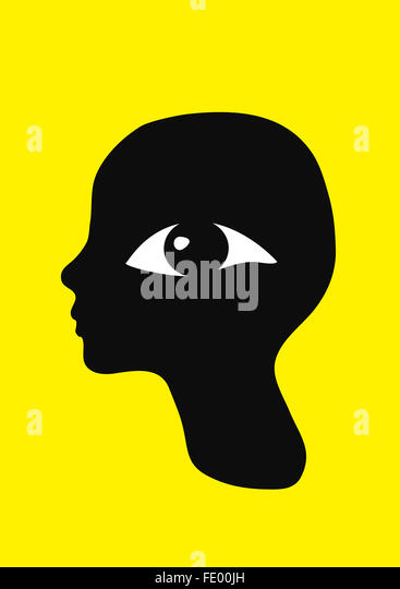 A retro graphic profile portrait with a large eye watching the viewer. - Stock Image