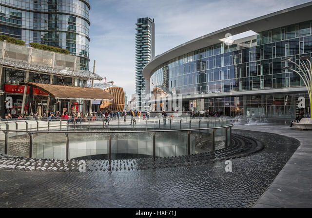 Office buildings in Piazza Gae Aulenti, Milan, Lombardy, Italy - Stock Image