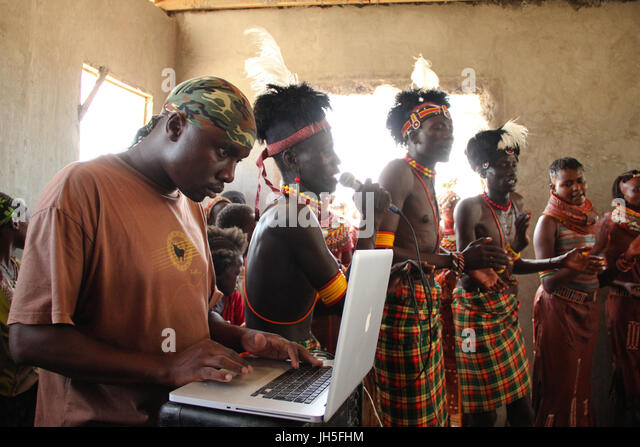 KateBul collaborate with Turkana & Samburu musicians. KateBul, Nairobi-based band teamed up with various communities - Stock Image