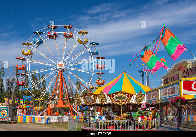 The Wonder Shows midway and ferriswheel in Winkler, Manitoba, Canada. - Stock Image