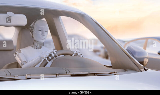 Robot stuck in a traffic jam - autonomous transport  and self-driving cars concept 3D illustration. - Stock-Bilder