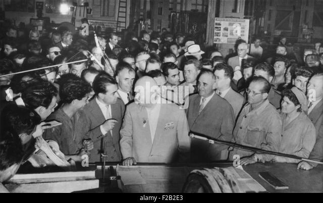 Soviet Premier Nikita Khrushchev (center) with workers in the Grivita Rosie railroad workshop. Bucharest, Romania, - Stock-Bilder
