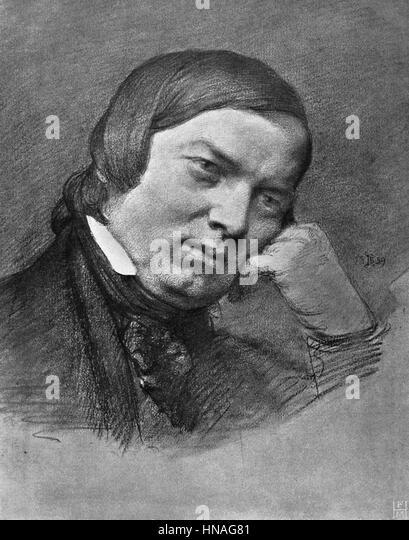 ROBERT SCHUMANN COMPOSER & PIANIST (1850) - Stock-Bilder