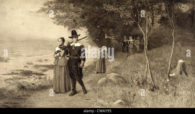 Thanksgiving, Pilgrims holding bibles, circa 1800s. - Stock-Bilder