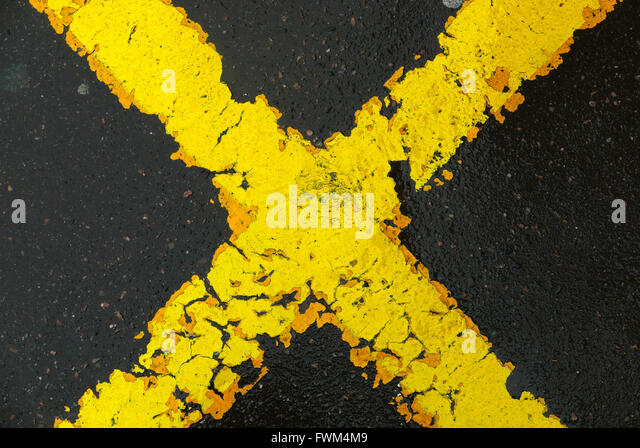 Full Frame Shot Of Road Marking - Stock Image