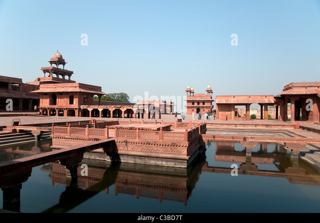 The ancient city of Fathehpur Sikri at dusk. - Stock Image