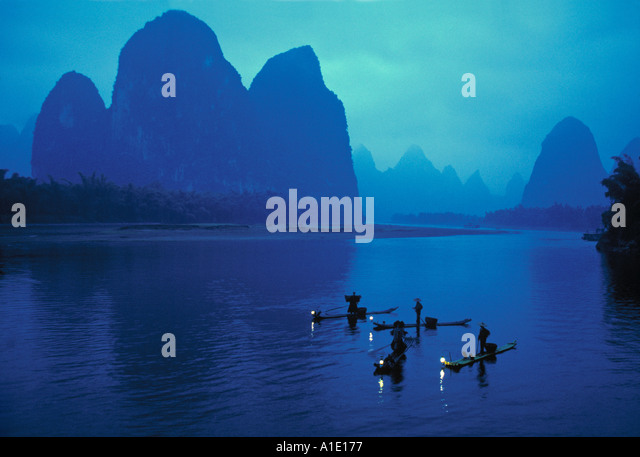 Cormorant fishermen, Xingping, Li River, Guangxi, China - Stock Image