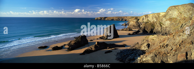 View of Bedruthan Steps and beach, near Newquay, Cornwall, England, United Kingdom, Europe - Stock Image
