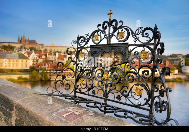 Shrine of  St. John of Nepomuk (Jan Nepomucky), Charles Bridge, Czech Republic, Prague, Europe - Stock Image