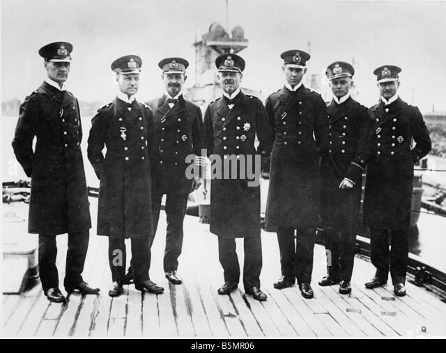 9 1916 5 31 A1 12 E Battle of Jutland Vizeadm Hipper a o World War 1 1914 18 Battle of Jutland Skagerrak 31 5 1 - Stock-Bilder