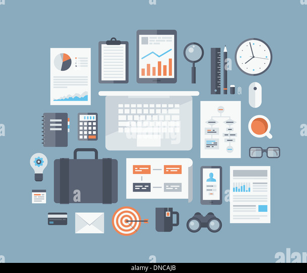 Modern design flat illustration concept of business workflow items and elements, office things and equipments - Stock Image