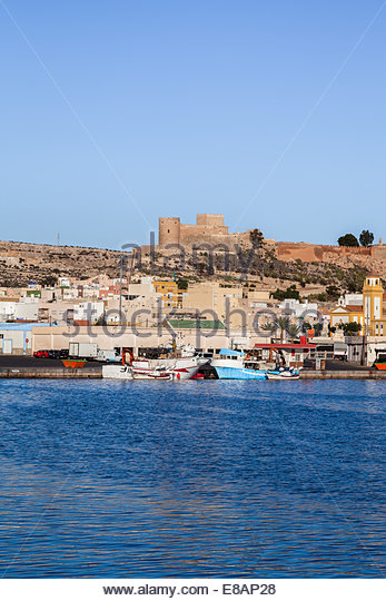 Boats in fishing port castle stock photos boats in for Costa sol almeria