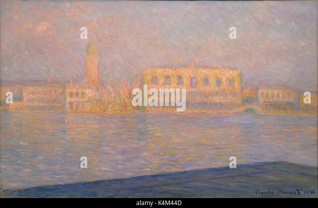 The Palazzo Ducale, Seen from San Giorgio Maggiore, by Claude Monet, 1908, Solomon R. Guggenheim Museum, Manhattan, - Stock Image