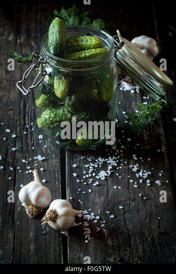 Preparation of low-salt pickled cucumbers - Stock Image