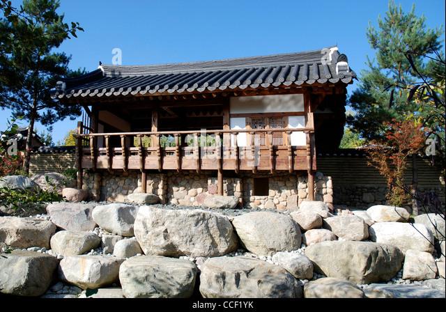 The Korean garden in the Gardens of the world in Berlin. - Stock-Bilder
