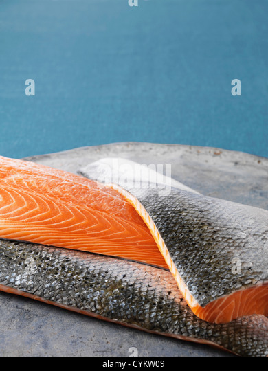 Close up of salmon filets - Stock Image