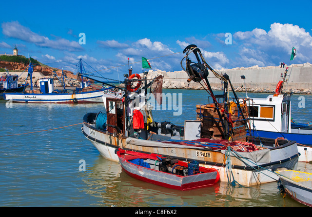Fishing boat at the harbour of Tipasa, Algeria, North Africa - Stock Image
