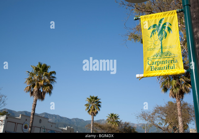 Carpinteria Beautiful banner hanging from a lamp post on Linden Avenue in Carpinteria, California. - Stock Image