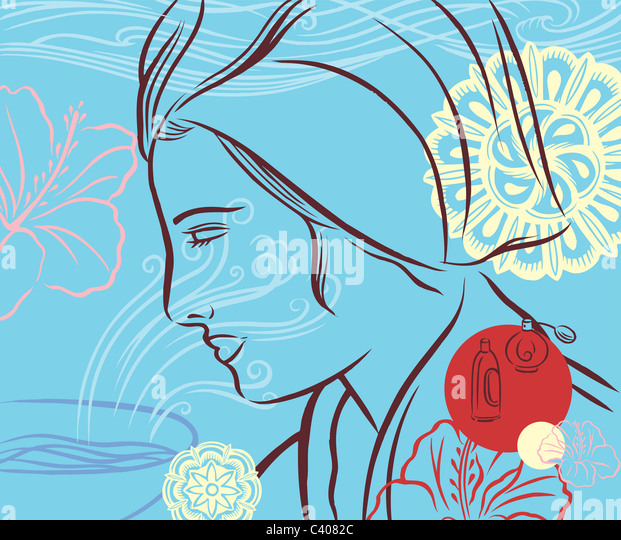 Illustration of a woman wearing a towel on her head - Stock Image