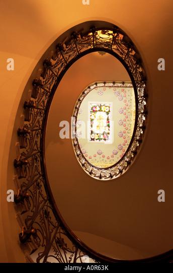 Staircase in Casa Modernista art nouveau house Novelda Valencia region Spain Europe - Stock-Bilder