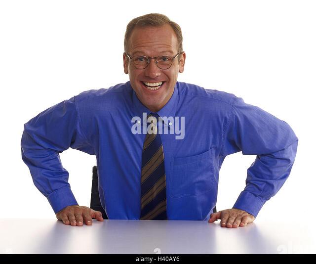 Man, glasses, shirt, tie, sit, rest on, laugh, decided, determination Men, businessman, manager, studio, cut out, - Stock Image