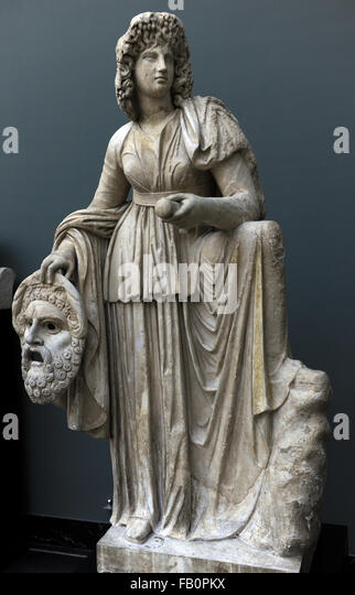 Melpomene. Muse of Singing and Tragedy. She is represented with a tragric mask. Roman statue. 2nd century AD. From - Stock Image