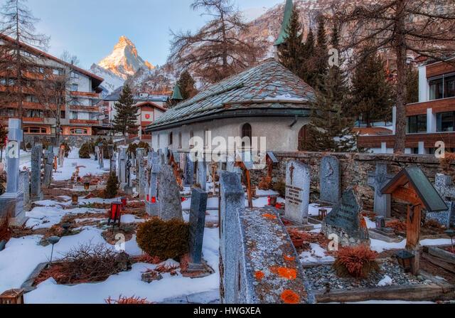 Matterhorn, Mountaineers cemetry, Zermatt, Valais, Switzerland, Europe - Stock-Bilder